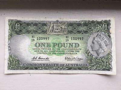 Old Coombs/Wilson Australian Predecimal ONE POUND Bank Note. .VF