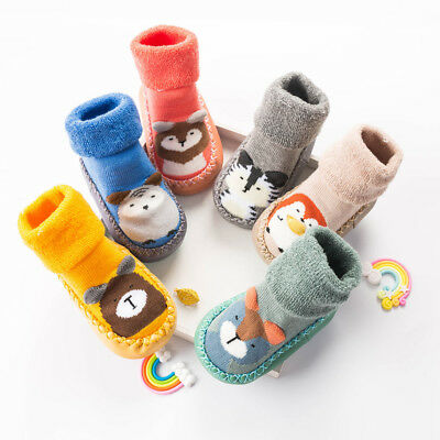 Newborn Baby Boys Girls Cartoon Cute Warm Floor Socks Anti-Slip Baby Step Socks