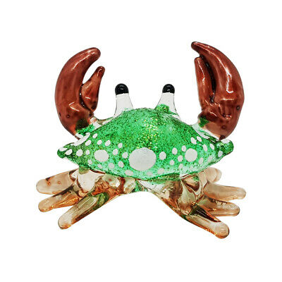 Crab Miniature Hand Blown Clear Glass Figurine Animal Collectible Decor gift 2