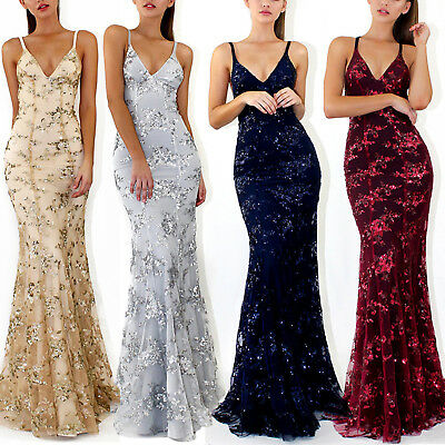 Womens Backless Evening Gown Formal Party Bridesmaid Wedding Maxi Dress Bodycon