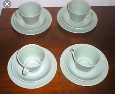 Vintage 1940's Woods Ware BERYL 6 Green Tea Cups and Saucers