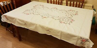 Vintage Hand Embroidered Tablecloth - Delicate design and colours beautiful work