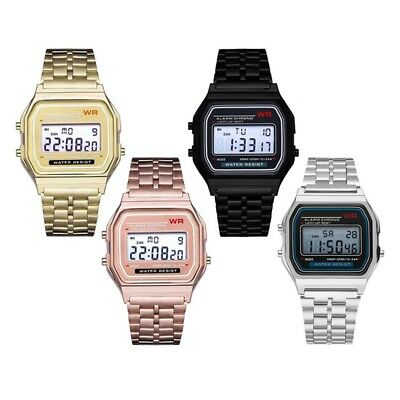 Men's Women's Unisex Date Stainless Steel Digital Sports Stopwatch Wrist Watch