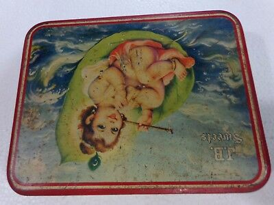 Vtg TIN BOX Artistic Border Panel Child Krishna Empty sweet container Litho