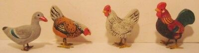 """4 Superb Antique Composition Toy Christmas Putz Chickens Duck 1.5"""" Germany 1920"""