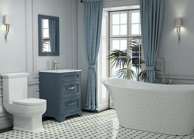 Traditional Slipper Bath with Blue Oak Vanity Basin Unit and Mirror Toilet Suite