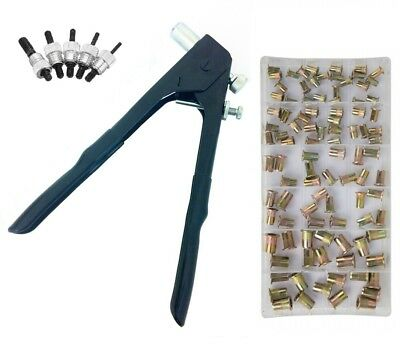 Hand Nut Rivet Gun Nutsert Riveting Tool and 100 Assorted Threaded Nut Rivets