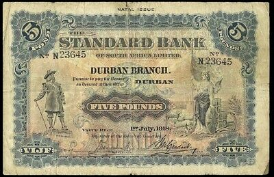 SOUTH AFRICA 1918 5 POUNDS P-S423a THE STANDARD BANK OF SOUTH AFRICA RARE NOTE