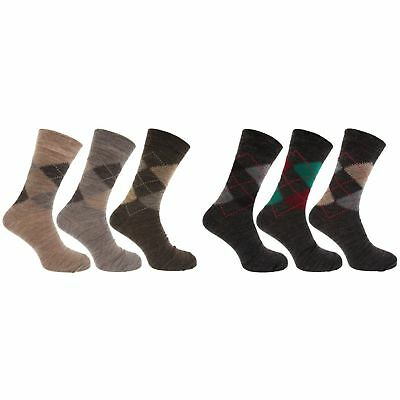 Mens Traditional Argyle Pattern Lambs Wool Blend Socks With Lycra (Pack (MB275)