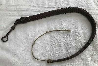 Antique Plaited Leather Stock Whip With Metal Clasp Very Good Condition