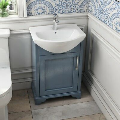 Traditional Cloakroom Blue Oak 560mm Vanity Basin Compact Cabinet Unit with Sink