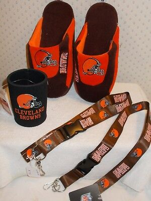 Cleveland Browns NFL girls boys slippers Size Small w/Drink Cozzey + 2 Lanyard