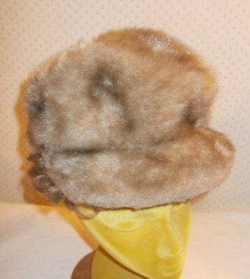 VINTAGE LADIES HAT LIGHT BROWN FAUX FUR HAT Union Made in the USA Elastic inside