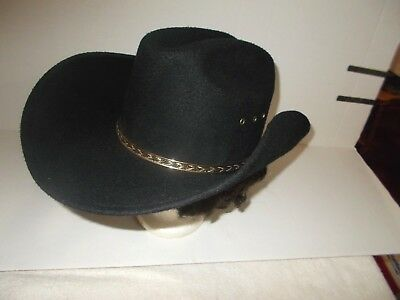 VINTAGE WESTERN EXPRESS INC. BLACK COWBOY HAT SIZE Small/'Medium Made in Mexico