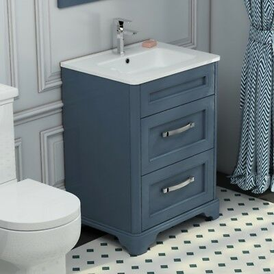 Traditional Cloakroom Blue Oak 630mm Vanity Sink Washstand 2 Drawer Cabinet Unit