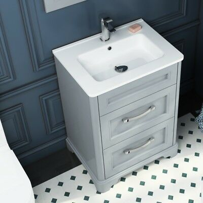 Traditional Bathroom Grey Oak 630mm Vanity Basin Washstand 2 Drawer Cabinet Unit