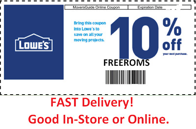 5 Lowes In-Store/Online 10% Percent Off Discount Promo Code couponsexpires 1/31