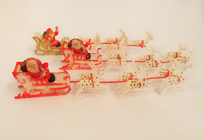 "Vintage Christmas Celluoid/Plastic Santa Sleigh w/Reindeer 9.5"" Long - Lot Of 3"