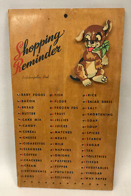 Shopping Reminder Puppy Peg Board, Mid-Century Souvenir of Indianapolis