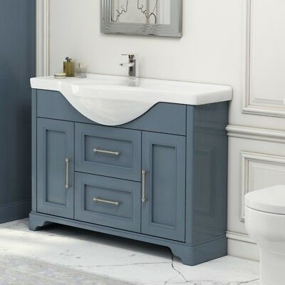 Traditional Cloakroom Blue Oak 1060mm Vanity Sink Premier Washstand Cabinet Unit