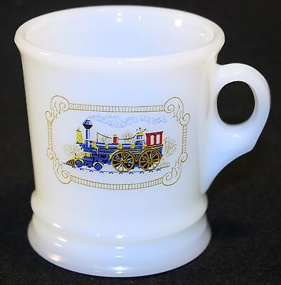 Vintage Avon Shaving Mug White Milk Glass with Locomotive Design Train