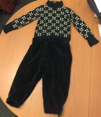 Boys Vintage Woolly Christmas Jumper & Green Velvet Collote Trousers 40s Cost