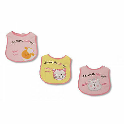 Baby Girls What Does The Animal Say Design Bibs (Pack Of 3) (BABY890)