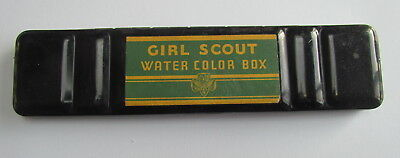 Rare vintage Girl Scout water color black metal paint box used 8 colors