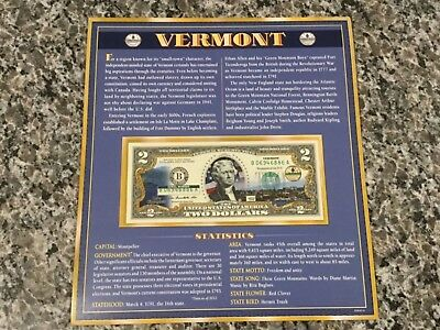 Vermont $2 Two Dollar Bill Colorized State Landmark Uncirculated Authentic