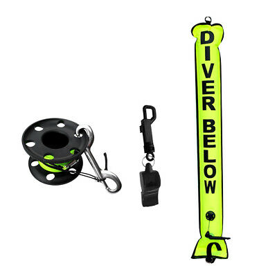 Scuba Diving SMB Surface Marker Buoy + Reel + Whistle Safety Gear Equipment