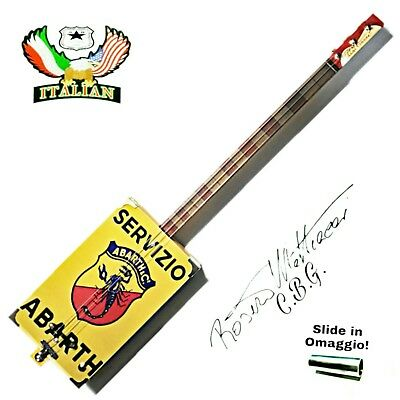 Cigar Box Guitar mod. ABARTH, 3 corde, pick-up piezoelettrico tastiera slide.