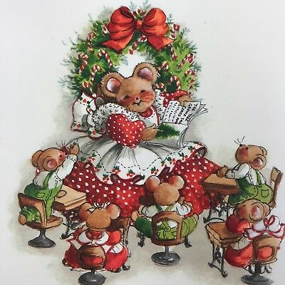 Vintage Mid Century Christmas Greeting Card Cute Mouse Teacher Kids Candy Canes