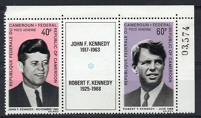 CAMEROON = 1968 Robert F. Kennedy MNH Tryptic with Sheet No.
