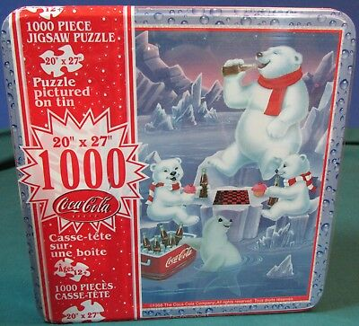 Coca Cola 1000 Piece Jigsaw Puzzle in Collector Tin – Polar Bears – Factory Seal