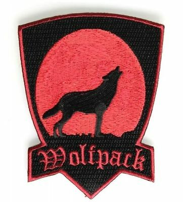 Red Wolfpack Patch Howling Wolf Patch Embroidered Iron On Sew On Biker Skater
