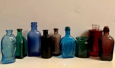 Vintage 9 Glass Medicine Bottle Wheaton Sam Johnson Walbridge Co Straubmuller's