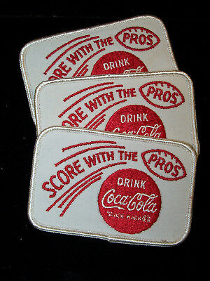 Lot Of 3   Coca Cola Score With The Pros Football Cloth Patch's