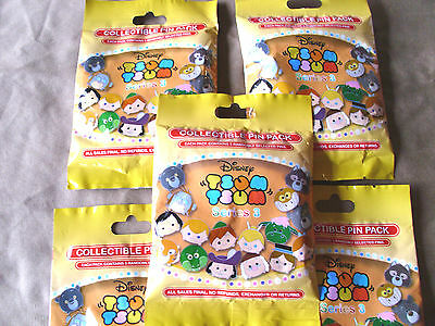 Disney * TSUM TSUM SERIES 3 * 5 PACKS * NEW 5-pin Collectible Mystery Pack Pins