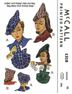 "Hats Millinery Cap & Bags Purse 23"" Alopecia Fabric Sewing Pattern McCall # 1318"