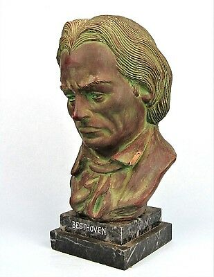 "BEETHOVEN BUST LARGE 12"" VINTAGE VERDIGRIS BRONZED CERAMIC SCULPTURE on MARBLE"
