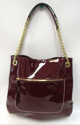 Authentic Coach Crimson Red Patent Leather Slim Large Tote Bag Purse 21583