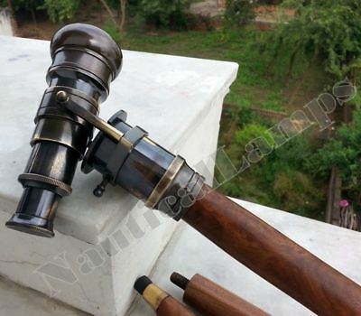 Telescope-Handle-Wooden-Walking-Stick-Cane-Solid-Brass-Spyglass-Vintage-cane