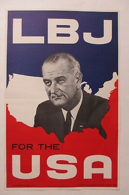 Lyndon Johnson 1964 Picture Campaign Poster-LBJ For The USA-Mint Condition!