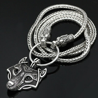 Stainless Steel Viking Wolf Head With Thor's Hammer Bear Wolf Pendants Necklaces