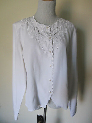 vtg Christine Gerard white Embroidered floral faux pearls ladylike blouse L 14