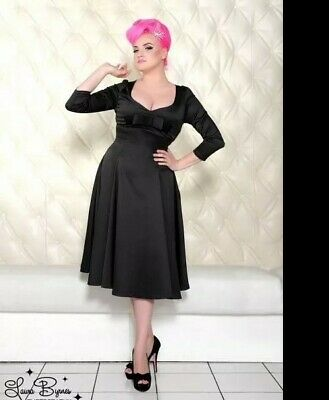 Pinup Couture Sophia Black A-Line Swing Dress Small Long Sleeved Bow LBD! RARE!