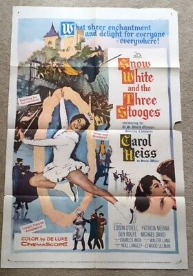 Vintage SNOW WHITE AND THE THREE STOOGES  Authentic One Sheet Movie Poster 1961