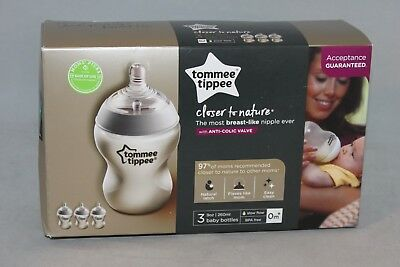 Tommee Tippee Closer To Nature Anti-Colic Valve (3 x 9 Oz. Bottles) Brand New!