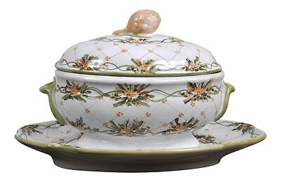 Vintage 1940's French Hand-Painted Floral Pattern Ceramic Soup Tureen and Stand