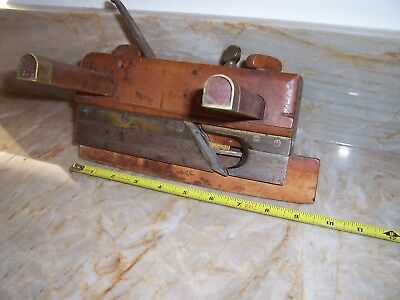 Antique Brass & Wooden Carpenter's Plane A. Smith Lowell Ma Woodworking Tool NoR